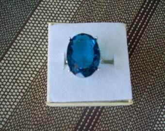 Created Dark Aquamarine/Blue Topaz  Ring Sterling Silver - 18x13 mm