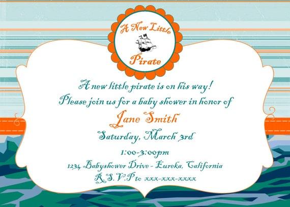 pirate baby shower invitation 5 x7 custom digital card