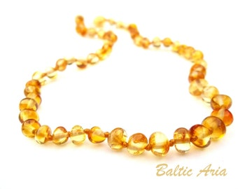 Baltic Amber  Teething Necklace for Baby Handmade Knotted.  Children, Baby, Toddler  Necklace. Golden Color  Beads.