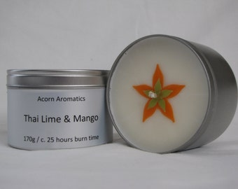 Soy wax candle tin in Thai Lime and Mango