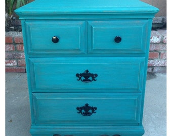SOLD** Teal Shabby chic nightstand
