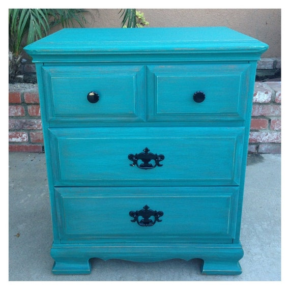 SOLD Teal Shabby chic nightstand