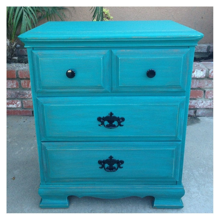 sold teal shabby chic nightstand. Black Bedroom Furniture Sets. Home Design Ideas