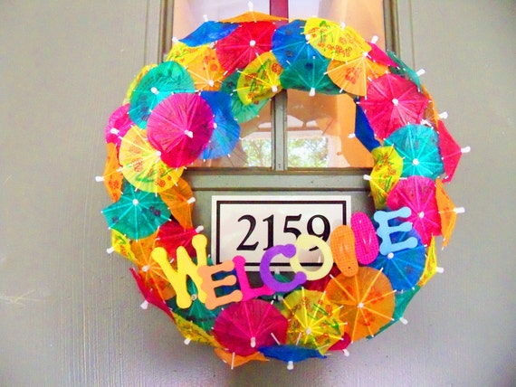 Colorful summer umbrella welcome wreath for Colorful summer wreaths