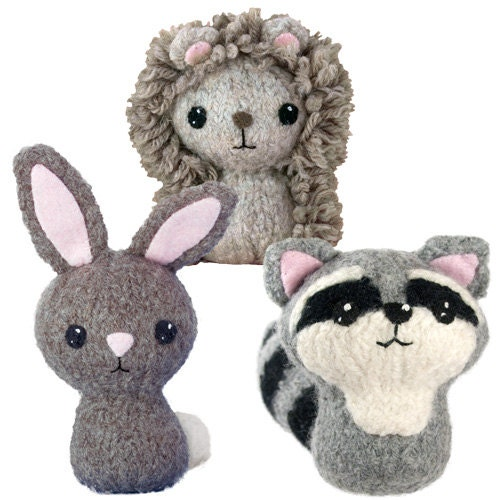 Stuffed Hedgehog Knitting Pattern : Backyard Critters 3 Felted Knitting Pattern - Bunny ...