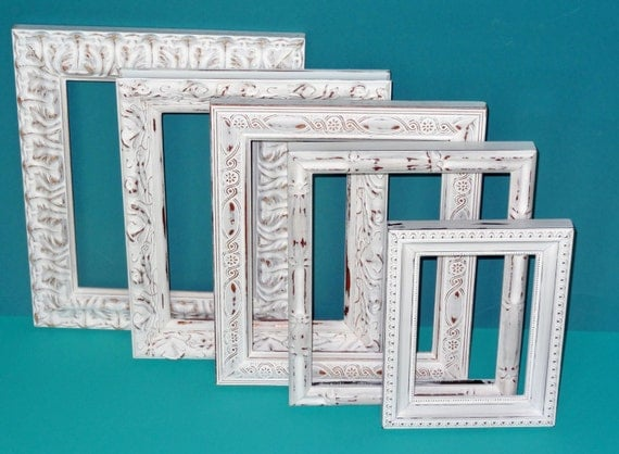 Shabby Chic Frames Linen White Picture Frame Set Ornate Frames Wedding Home Decor