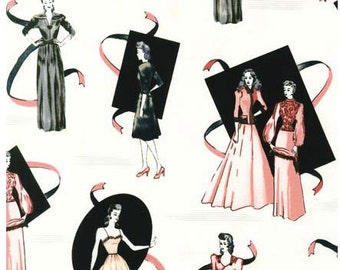 Glamour Girls Vintage Fashion Models Blush Robert Kaufman Fabric