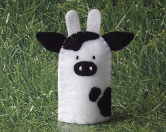 Cow Finger Puppet - Felt Cow Finger Puppet - Farm Animal Puppet Cow - Felt Animal Finger Puppet Bovine