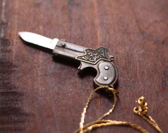 Vintage Brass Derringer Handgun Gun Pocket Knife Necklace