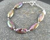 Purple Mauve Oval Abalone Bracelet // Silver Accented Abalone // Pink Abalone Bracelet // Unusual Bracelet // SRAJD