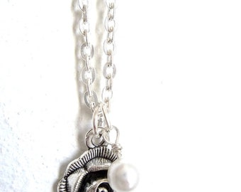 Pure in Heart Necklace - featuring beautiful silver rose charm and vintage pearl - READY to SHIP