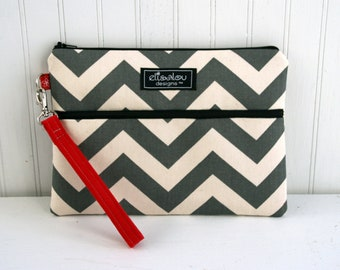 Kindle / iPad Mini / Nook / eReader / Padded Pouch / Bag / Wristlet- Gray Chevron
