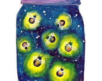 Watercolour Fireflies Night Light Art Print of Original Painting Summer Wall Art