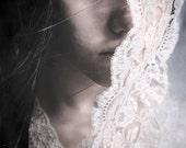 Behind The Veil - FREE SHIPPING - Print Girl Face Bride Lace Wind Cream Blue White Eye Black Hair Wind Portrait Art