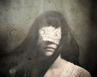 Sway - Discount Print FREE SHIPPING 5x7 Surreal Photo Print Haunting Portrait Dark Art Image Girl White Lace Blindfold Green Cream Small