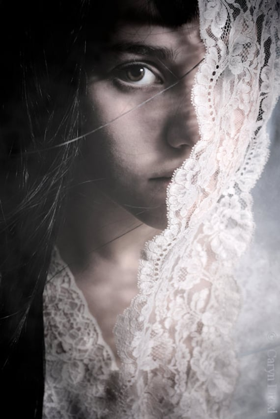 Behind The Veil - FREE SHIPPING - Print Girl Face Bride Lace Wind Cream Blue White Eye Black Hair Wind Portrait Art