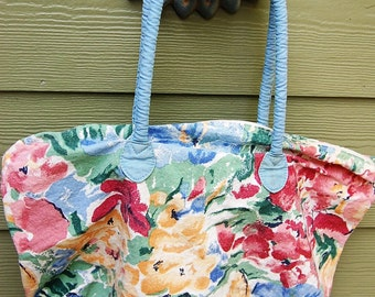 Vintage 80s Romantic Floral Cotton Canvas Tote Bag