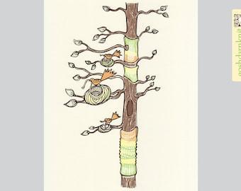 Knitting Tree Original Gocco Print 8x10 . Yarnbomb . Bird . Cozy . Orange Green Yellow Brown Knit