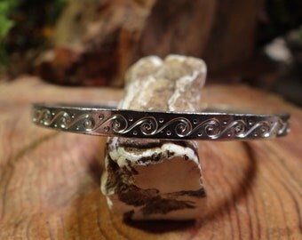 Hand forged and engraved sterling cuff bracelet