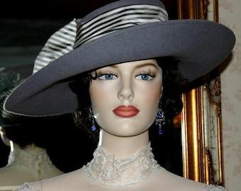 """Flapper Hat Edwardian Hat Downton Abbey Hat Gatsby Hat Suffragette Hat """"Lady Olivia"""" Gray Tea Hat"""