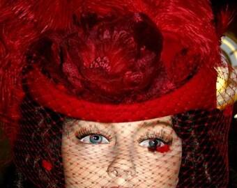 Victorian Hat Red Hat SASS Hat Tea Hat - Spirit of Wichita - Women's Western Hat