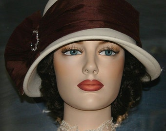 Downton Abbey Flapper Hat Edwardian Hat Church Ascot Hat Gatsby Roaring Twenties - Josephine
