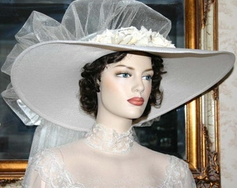 Kentucky Derby Hat Southern Belle Wedding Hat Church Hat Ascot Hat Ivory Hat - My Wedding Day - Wide Brim Hat