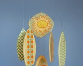 "Baby Mobile - Baby Crib Mobile - Wooden Surfboards ""Fun in the Sun Series"" - Beach Nursery Decor - Surf Baby - Orange and Teal"