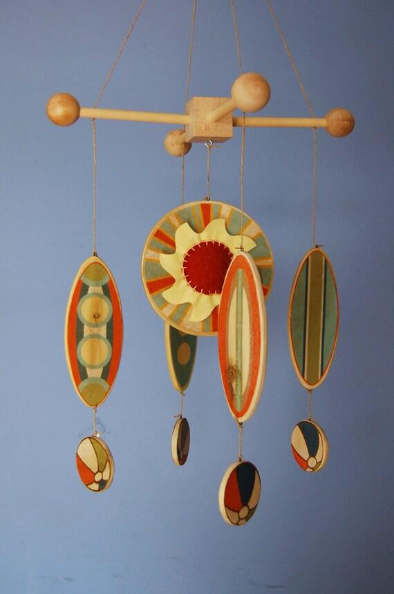 Baby Mobile - Surfboards as seen in BABYTALK Magazine - Wooden Surfboard Mobile - Beach Room Decor