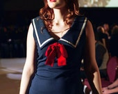 Dilly Daisy navy blue sailor dress with red bow