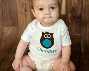 Personalized Bodysuit or Toddler Shirt Owl Applique for Baby Boys