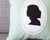 Audrey Hepburn Cameo Silhouette Grayed Jade Green Decorative Pillow - regansbrain