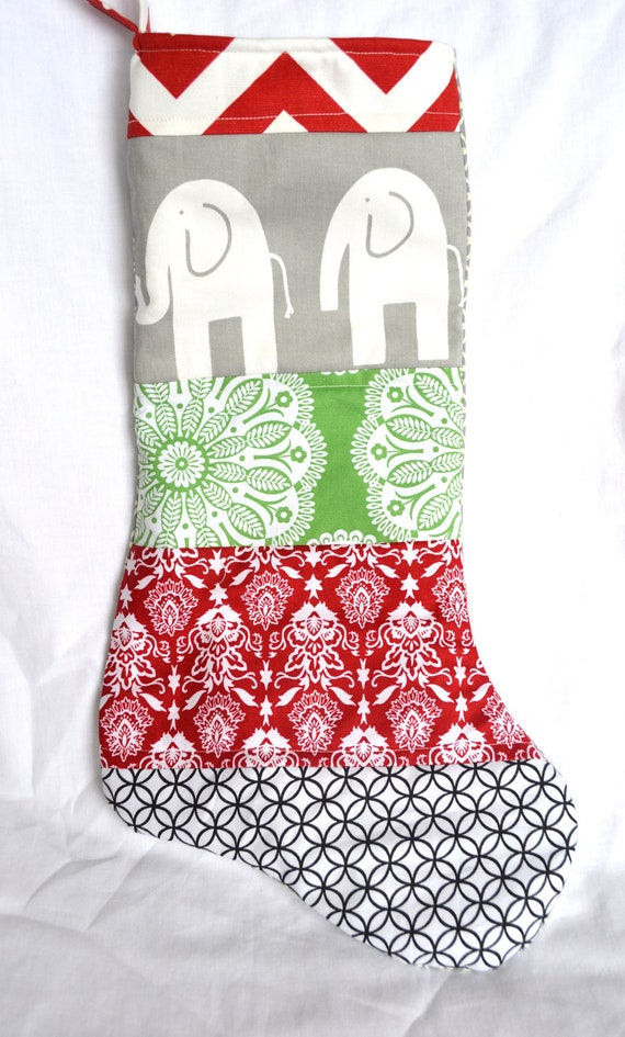 Modern christmas stocking gray elephant with red chevron and green