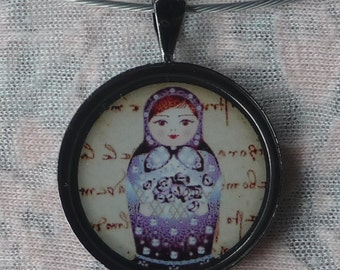 Russian doll necklace - blue