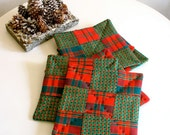 Holiday Tea Mats / Coasters / Set of 6 / Quilted Plaid Patchwork