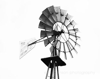 rustic windmill farm photography,  rustic country photograph, black and white farmhouse rustic decor,  rustic farm decor, windmill art,