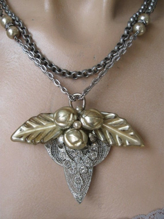 Dream Flower ... vintage repurposed glass flower and paste  necklace