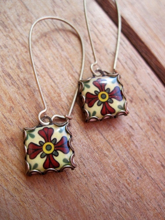 mexican earrings traditional mexican talavera pottery design tile jewelry by corinacrooks 8856