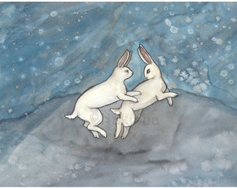 Original Art - Midnight Run - Watercolor Rabbit Painting