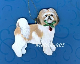 Tan And White Shih Tzu Ornament