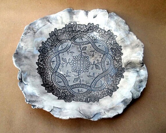 Brown Lace  Ceramic Bowl hand built pottery