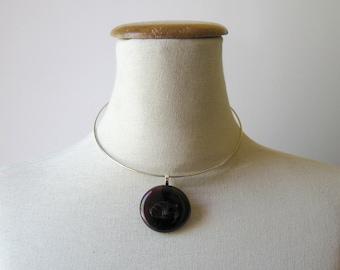 Minimalist Jewelry, Burgundy Pendant, Pendant Necklace, Glass Gem Jewelry, Burgundy Glass Gem, Glass Pendant, Glass Jewelry, Unique Pendant