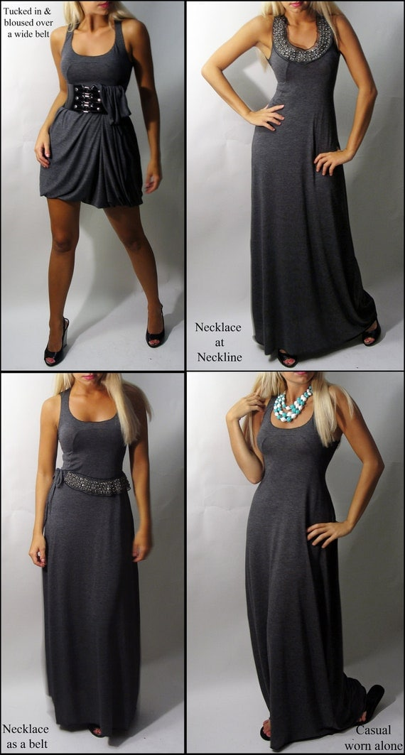 SALE - Venni Caprice Grey Daze Maxi dress with Grey Beaded Accessory included - XS/S