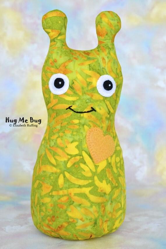 Handmade Bug, Stuffed Animal Cloth Doll Art Toy, Hug Me Bug, Personalized Tag, Yellow, Green, Gold Batik, 9 inch, Ready-made