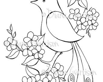 Pretty Bird Digi Digital Stamp