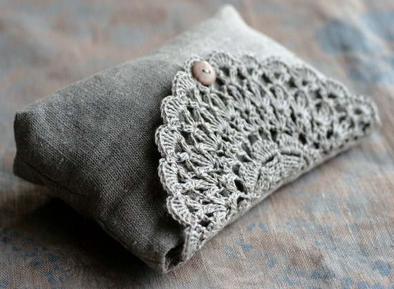 Linen clutch, pouch, purse, makeup bag -- crocheted detail closure