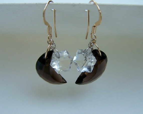 Faceted Smoky  Quartz  half moon, Faceted Topaz star briolette 14k goldfilled, hook style earwire, earwire