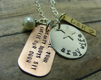 Army-wife-Handstamped-personalized-sterling silver necklace-Military-veteran-army