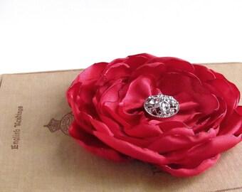 Red Flower Hair Clip.Brooch.Pin.Bridesmaid.Headpiece.Wedding.Ruby Red.Satin Flower.Hair Accessory.Hair Piece.Fascinator.Cherry Red.hairpiece