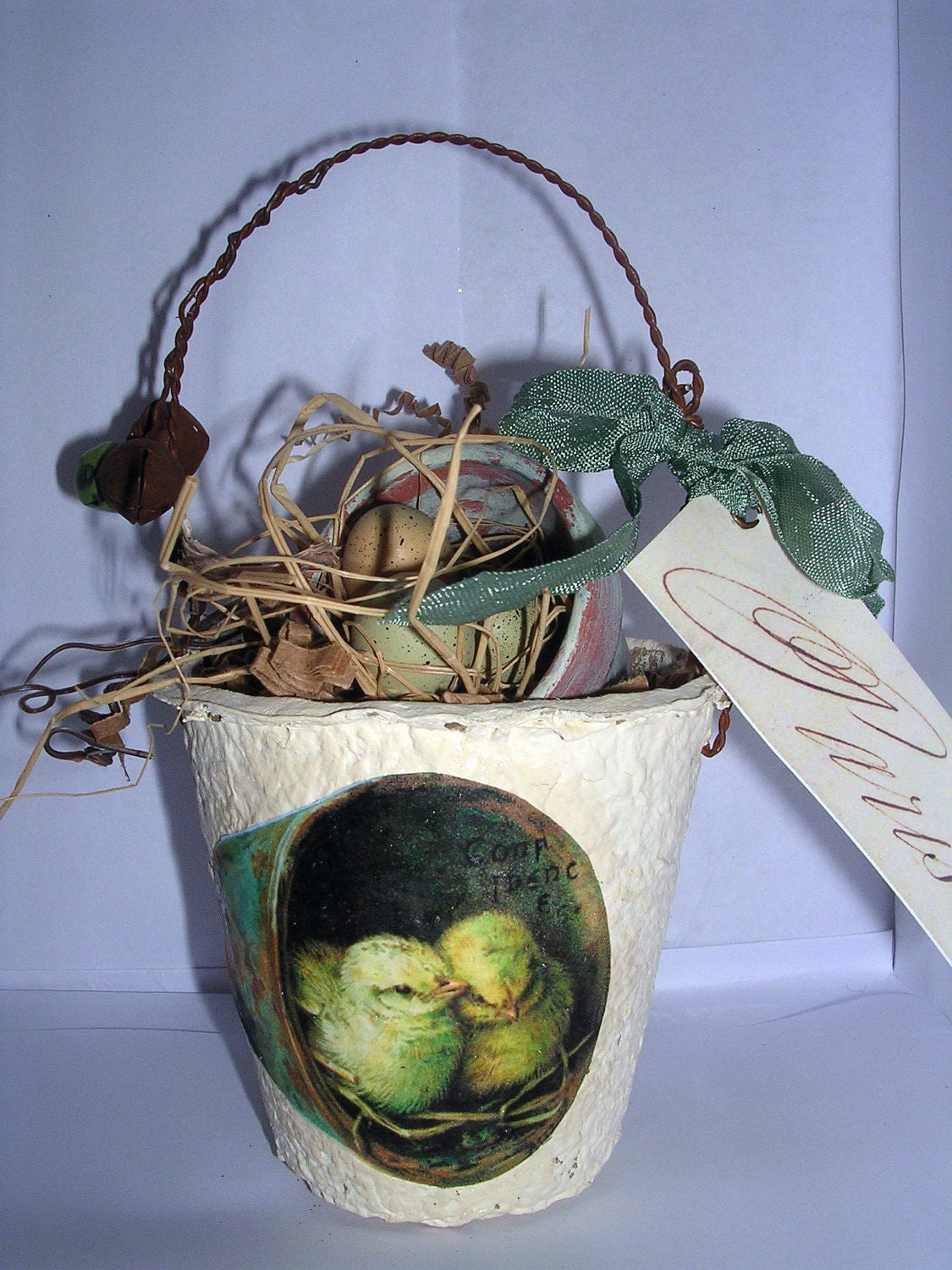 Spring Peat Pot Easter Basket Decor By Vintageanteups On Etsy